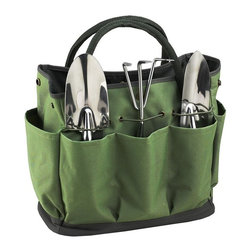 Picnic at Ascot - Eco Garden Set w Tools - Includes three top quality, heavy gauge stainless tools with comfort grip handles. Side pockets for beverage and snack. Lifetime warranty. Made in USA. 13 in. L x 6.5  in. W x 11.75  in. H (2.2 lbs.)