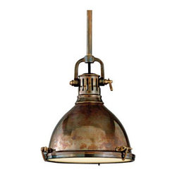 Hudson Valley Pelham Solid Brass Pendant - This pendant light adds a beautiful brass metal to your textural palette, and classic industrial lines that will always keep it up-to-date.