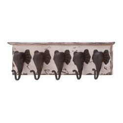 BZBZ65152 - Wood and Metal Elephant Wall Hooks - Wood and Metal Elephant Wall Hooks. This decor made from wood and fitted with elephant heads as their trunks to be used as hooks is a perfect way to blend nature in your day to day lives. Gift it to someone and watch them smile as they hang it up their wall. So do not wait anymore and get one now. Some assembly may be required.