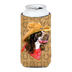 Caroline's Treasures - Springer Spaniel Dog Country Lucky Horseshoe Tall Boy Koozie Hugger - Springer Spaniel Dog Country Lucky Horseshoe Tall Boy Koozie Hugger Fits 22 oz. to 24 oz. cans or pint bottles. Great collapsible koozie for Energy Drinks or large Iced Tea beverages. Great to keep track of your beverage and add a bit of flair to a gathering. Match with one of the insulated coolers or coasters for a nice gift pack. Wash the hugger in your dishwasher or clothes washer. Design will not come off.