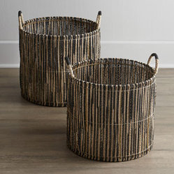 Two Black-Accented Handled Baskets