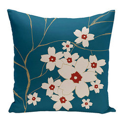 e by design - Floral Teal 16-Inch Cotton Decorative Pillow - - Decorate and personalize your home with coastal cotton pillows that embody color and style from e by design  - Fill Material: Synthetic down  - Closure: Concealed Zipper  - Care Instructions: Spot clean recommended  - Made in USA e by design - CPO-NR3-Muitiple_Teal_Dragon-16