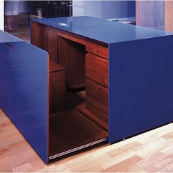 Blue Desk by Paul Kelley - Blue acrylic cube that conceals a secret desk arrangement when panel is pulled away to reveal a leather chair, and polished mahogany drawers and filing cabinet.