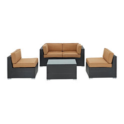 Camfora Outdoor Wicker Patio 5 Piece Sofa Set in Espresso with Mocha Cushions