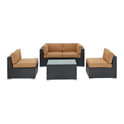 LexMod - Camfora Outdoor Wicker Patio 5 Piece Sofa Set in Espresso with Mocha Cushions - Simple and serviceable, the Camfora is a great choice for any backyard. Classically styled furniture crafted out of all weather materials meant to last, this set will please year after year. Enjoy some quality time in the fresh air with the Camfora set.