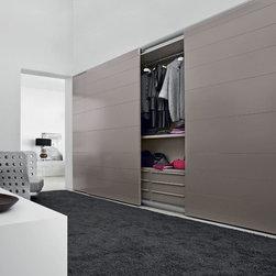 """Custom Made Closets with Sliding Doors - Closet with """"Monaco"""" sliding doors with lacquer finish."""