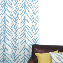 Nature Collection - Zebra Series window panel turquoise on cream - Nature Collection Zebra Window Panel Turquoise on Cream by ez living home
