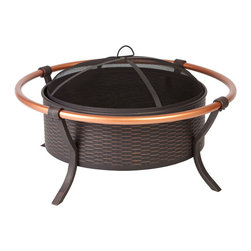 "Fire Sense - Copper Rail Fire Pit - This unique fire pit features a 28"" antique bronze painted steel fire bowl with an attractive weave pattern, and elegant copper finish outer rails. This fire pit comes complete with mesh fire screen with high heat paint, and powder coated legs. Also included is a screen lift tool."