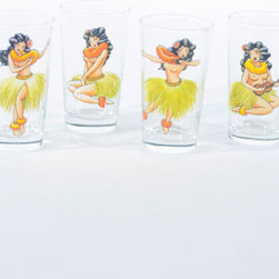 Spirit of Hula Glasses - Set of 4 - Whether she's dancing or strumming the ukulele, the hula girl is an iconic part of Hawaiian design. Drink to her fun and vibrant spirit with this set of four glasses, featuring a hula girl singing and dancing in different poses. These glasses are perfect for a luau featuring fruity Hawaiian drinks.