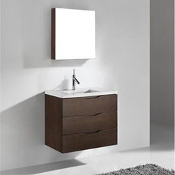 """Madeli - Madeli Bolano 30"""" Bathroom Vanity with Quartzstone Top - Walnut - Madeli brings together a team with 25 years of combined experience, the newest production technologies, and reliable availability of it's products. Featuring sleek sophisticated lines Madeli vanities are also created with contemporary finishes and materials. Some vanities also feature Blum soft-close hardware. Madeli also includes a Limited 1 Year Warranty on Glass Vessels, Basin, and Counter Tops. Features Wall Mounted Three Drawer Vanity Walnut finish 1-1/4""""H Quartzstone Countertops come in White or Soft Grey finish Quartzstone Countertops come with single faucet or 8"""" widespread faucet holes Ceramic undermount sink with overflow Faucet and drain are not included No backsplash Matching mirror and medicine cabinet available Limited 1 Year Warranty on Glass Vessels, Basin, and Counter Tops How to handle your counter Spec Sheet Installation Instructions"""