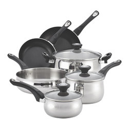 Farberware - Farberware New Traditions Stainless Steel 12-piece Cookware Set - Shine in the kitchen at every family meal with the sturdy Farberware New Traditions stainless steel 12-piece cookware set.