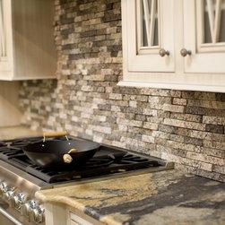 Recycled Granite Split Stone Tiles - Latte Blend as Kitchen Backsplash.