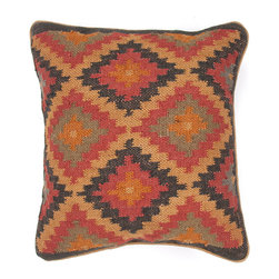 """Jaipur Rugs - Handmade Wool & Jute Red/Gray (18""""x18"""") Pillow - The Bedouin collection of pillows is hand woven from wool and jute. Patterns are inspired by traditional kilim patterns which have been recolored and updated. The look is rustic and authentic and designed to be mixed and matched with the coordinating range of poufs and rugs."""