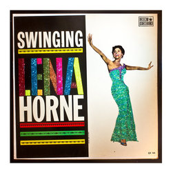 """Glittered Lena Horne Swinging Album - Glittered record album. Album is framed in a black 12x12"""" square frame with front and back cover and clips holding the record in place on the back. Album covers are original vintage covers."""