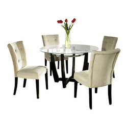 Steve Silver Furniture - Steve Silver Matinee 5-Piece Dining Room Set - Matinee 5 piece dining room set belongs to Matinee collection by Steve Silver the Matinee glass top table will enhance any contemporary decor. The 48 Inch round glass top sits on a black and chrome table base giving this table load of style.