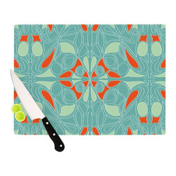 "Kess InHouse - Miranda Mol ""Seafoam and Orange"" Cutting Board (11"" x 7.5"") - These sturdy tempered glass cutting boards will make everything you chop look like a Dutch painting. Perfect the art of cooking with your KESS InHouse unique art cutting board. Go for patterns or painted, either way this non-skid, dishwasher safe cutting board is perfect for preparing any artistic dinner or serving. Cut, chop, serve or frame, all of these unique cutting boards are gorgeous."