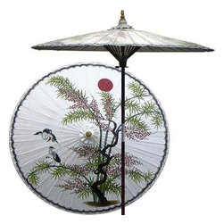 "Oriental-Décor - Asian Splendor (Beijing White) - Beautiful and artistic, this outdoor patio umbrella features a juniper tree, which is symbolic of wisdom and protection, with two cranes flying near. Ideal for any outdoor setting, this stunning patio umbrella is perfect for adding a vibrant and colorful touch to any deck or patio.    - 7 foot umbrella pole constructed of rich stained oak hardwood.  - Each umbrella is entirely handcrafted down to the finest detail.  - Oil-treated cotton umbrella shades are all hand-painted by our master artists.  - Dual position shade height allows for full coverage or a better view of the painted shade.  - Waterproof and weatherproof.  - Two-piece pole fastens securely with a polished metal coupling.  - Pole diameter of 1.5"" easily fits into any standard size umbrella base or table.  - Optional umbrella base available - handcrafted from stained oak hardwood."