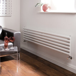 Hudson Reed - Luxury White Horizontal Designer Radiator Hydronic Warmer & Valves - Hudson Reed - Revive Luxury White Horizontal Designer Radiator 14 x 70With a heat output of 1,120 Watts (3,823 BTUs), this horizontal designer radiator, in a fashionable white powder coat finish (RAL9016), is stylish and highly efficient, ensuring that your room is heated quickly.This luxury radiator is designed especially for use in any room, looking equally stylish in a modern or traditional setting; its six white horizontal tubes bring a touch of elegance to any living space. This modern minimalist radiator is also highly functional, connecting directly into your domestic central heating system via the radiator valves included (please choose straight or angled). This radiator comes complete with a 5 YEAR GUARANTEE.Luxury White Horizontall Designer Radiator 14 x 70 Details  Dimensions: (H x W x D) 14 (354mm) x 70 (1780mm) x 2.25 (57mm) Output: 1,120 Watts (3,823 BTUs) Pipe centres with valves: 68.4 (1738m) Wall to centre of tapping: 2.5 (65mm) Number of horizontal tubes: 6 (1 thickness) (25mm) Fixing Pack Included (see image above) Designed to be plumbed into your central heating system Suitable for bathroom, cloakroom, kitchen etc. Please note: radiator valves included - please choose straight or angled  Buy now, to transform your bathroom or other living space, at an affordable price.5 year guarantee Please Note: Our radiators are designed for forced circulation closed loop systems only. They are not compatible with open loop, gravity hot water or steam systems.