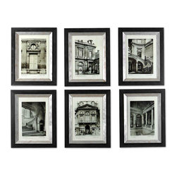 Paris Scene Framed Prints - Set of 6 - Monochrome photographs of neo-Classical Parisian architecture make a wonderful display when stepped up a staircase wall or placed in a grid of any proportion over a sideboard or sofa. Each of the six Paris Scene Framed Prints is two feet high, so a quite dramatic or a sensibly simple arrangement can be achieved. Black and champagne frames give the artworks a traditional finish.