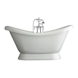 "Baths of Distinction - Hotel Collection Double Slipper Pedestal Bathtub/Faucet Package, 73"" Length - Package consists of an elegant 73"" double slipper pedestal bathtub along with hardware including faucet with handheld shower, drain with lift off stopper and straight supply lines all in chrome.  Bathtub is made of CoreAcryl acrylic with a resin/powdered stone filler.  Bathtub has a built in aluminum heat barrier within the tub body."