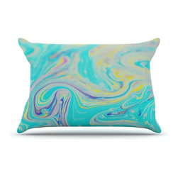 """Kess InHouse - Ingrid Beddoes """"Aqua Swirl"""" Blue Paint Pillow Case, King (36"""" x 20"""") - This pillowcase, is just as bunny soft as the Kess InHouse duvet. It's made of microfiber velvety fleece. This machine washable fleece pillow case is the perfect accent to any duvet. Be your Bed's Curator."""