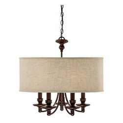 Capital Lighting - Capital Lighting Midtown Transitional 5-Light Chandelier X-454-BB5193 - The Capital Lighting Midtown Transitional chandelier blends the beauty of nature with elegant design. It features a fabric drum shade with five candelabra diffusers to create a distinctive look for your updated decor. This drum chandelier is complete with burnished bronze finish.