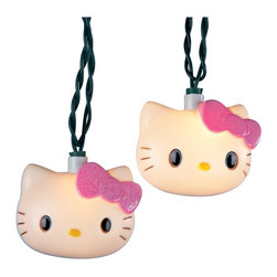 "Lamps Plus - Themed Hello Kitty 10-Light String of Party Lights - Say hello to a good time with these Hello Kitty party lights. Featuring 10 lighted kitties with signature pink bow. Perfect for a Hello Kitty birthday party or just decorating the bedroom. 10-light string. 12"" spacing between lights. 30"" lead wire. Includes spare bulbs and fuses. Total length 11 1/2 feet.  10-light string.   12"" spacing between lights.   30"" lead wire.   Includes spare bulbs and fuses.   Total length 11 1/2 feet."