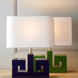 Greek Key Mini Lamp - These Greek key–inspired mini lamps are the most fun! I want one for my own desk.