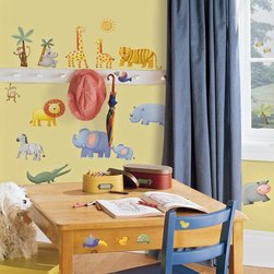 RoomMates - Jungle Adventure Peel & Stick Appliques - RMK1136SCS - Shop for Wall Decorations from Hayneedle.com! Hippos elephants zebras and of course the mighty lion are all rendered here in friendly sticker form ready to be positioned just so by your discriminating young designer. Great for use with classrooms playrooms and of course kids' bedrooms this collection of removable and reusable wall stickers is perfect for fostering creativity and active play without endangering property or causing injury. No matter how many times the stickers are reused they stick just as well as the first time and never leave residue on surfaces. Perfect for kids fun for all.These stickers will work on just about any surface but take care with wallpaper or some delicate surfaces. If in doubt test in an inconspicuous place prior to applying all the stickers. Also wait 10 to 15 days after painting before using stickers. Though the paint feels dry it needs adequate time to cure. As with any adhesive product these will work much better on clean surfaces free of dust and the like. Specifically they will work well on surfaces including but not limited to walls mirrors your fridge laptop covers tile glass lockers furniture and automotive surfaces.Please note this product does not ship to Pennsylvania.