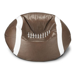 ABC Lifestyle - Football Bean Bag - Twin locking zippers. Ships prefilled with beans. Can be easily refilled. Wipe clean. 4.5 cube of fill. 90 days warranty. Made from vinyl and polystyrene bead. 96 in. Dia.
