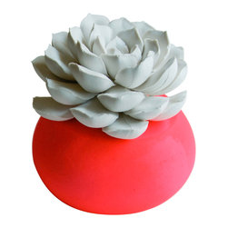 Waterstone Succulents - White Succulent Sculpture, Neon Pink, Round Container - A handmade succulent sculpture with interchangeable container. The perfect accessory for the modern home or office, and a great gift for any occasion. Creates the feel of a live plant minus any of the maintenance. Beautiful as an individual decorative accessory or grouped into sets of 3 or more.