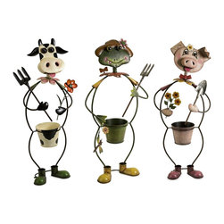 Imax - iMax Farmhouse Friends Planters - Set of 3 X-3-95148 - Cow, frog and pig farm characters frame the planters in this whimsical set of three planters made of metal and painted with brilliant color.