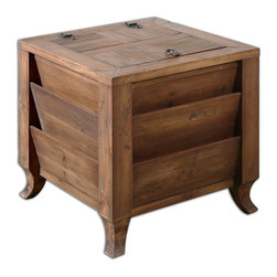 Uttermost - Rimmon Wooden Side Table - You've got tons of style — and tons of stuff — so this rustic table makes sense in your space. Crafted of sun-faded reclaimed fir, it's got slots for magazines and ample inner storage to keep clutter under control.