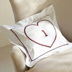 "Valentine's Heart Embroidered Boudoir Pillow Cover, 12 x 16"" - Our cotton pillow's embroidered heart makes a romantic frame for a name or monogram. 12 x 16"" Made of pure cotton. Envelope closure. Insert sold separately; down blend or synthetic. Machine wash. Imported."