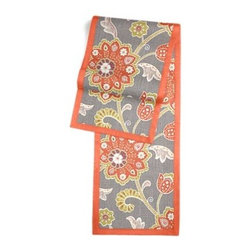 Gray & Orange Stylized Floral Custom Table Runner - Set a table for a king! or just your family and friends!! with our gorgeous Tailored Table Runner. Solid edging adds a touch of refinement, perfectly setting off the center fabric. We love it in this funky stylized floral with bold bursts of burnt orange and small hints of metallic gold and chartreuse swirling across a cherry red cotton background.