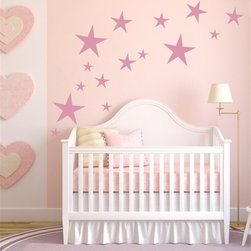ColorfulHall Co., LTD - Baby Wall Decals Shooting Star Goodnight Wall Decor For Kids , Pink - Baby Wall Decals Shooting Star Goodnight Wall Decor For Kids