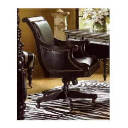 Tommy Bahama Home - Admiralty Desk Chair - True Leather upholstered seat and arm pad. Casters. Nail head decorative trims. Made from mahogany solids, American maple and mahogany veneers. Tamarind - black, highly distressed finish. 28 in. L x 28.25 in. W x 42.75 in. H (78 lbs.). Special Care Instructions from Lexington FurnitureKingstown is a relaxed traditional collection inspired by British Colonial style, with a hint of Campaign and a touch of safari. The Tamarind finish is a rich aged black with rub-through to crimson and gold undertones beneath. The evocative designs provide a sense of a well-traveled life.of items hand selected during journeys around the globe. Each piece is crafted as a one-of-a-kind find yet the eclectic collection coordinates beautifully. Travel the world without ever leaving home. The admiralty home office provides a stylish statement, while offering inspiration with its plantation louvered doors, dark tamarind finish, and leather work surface. The front of the desk offers a useful storage area, perfect for those stacks of travel books. The Adelaide writing desk showcases its versatility and unique design, which at first glance appears as a console table. But fold the top, open the drawer and slide out the work surface, and voila. it's the perfect accompaniment to a smaller work space.