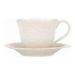 Lenox French Perle White Cup and Saucer - Set of 4 - If it's tea time, then it's Lenox French Perle White Cup and Saucer - Set of 4. These cups and saucers are ornately crafted of White stoneware and embellished with fine details. Great for entertaining or everyday use, and microwave and dishwasher safe.About Lenox CorporationLenox Corporation is an industry leader in premium tabletops, giftware, and collectibles. The company markets its products under the Lenox, Dansk and Gorham brands, propelled by a shared commitment to quality and design that makes the brands among the best known and respected in the industry. Collectively, the three brands share 340 years of tabletop and giftware expertise.