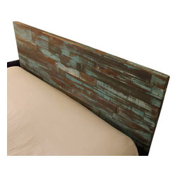 Clear Path Imports - Reclaimed Wood Headboard Painted Green and Blue, Cal King - Made out of reclaimed wood. Painted blue and green. This headboard attaches directly to the wall using an easy  to install French cleat.