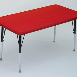 Correll Inc - Small Rectangular Activity Table in Red (Stan - Finish: Standard/Grey GraniteResist stains and damage from food, juices, crayons, paint, and even permanent markers. Light weight, scratch and impact resistant. Colors go all the way through. Not wear or scrape off. Free standing, full perimeter welded steel frames. Legs attach to frames with 3 bolts each. Free speed wrench for fast height adjustments. Standard legs adjust from 21 in. to 30 in. in 1 in. increments. Short legs adjust from 16 in. to 25 in. in 1 in. increments. Pictured in Red finish. 24 in. W x 48 in. L