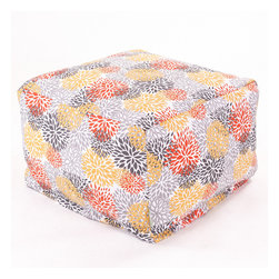 Majestic Home - Outdoor Citrus Blooms Large Ottoman - Add a little character to your living room or patio with the Majestic Home Goods Large Ottoman. This Ottoman is the perfect accessory to add comfort and style to any room while functioning as a decorative foot stool, pouf, or coffee table. Woven from outdoor treated polyester, these ottomans have up to 1000 hours of U.V. protection and are able to withstand all of natures elements. The beanbag inserts are eco-friendly by using up to 50% recycled polystyrene beads, and the removable zippered slipcovers are conveniently machine-washable.
