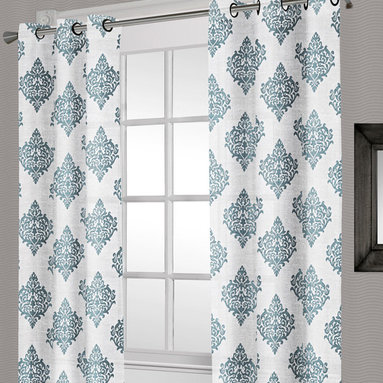 Exclusive Home - Teal Lattice Crushed Voile Grommet Panel - Set of Two - These high-fashion semi-sheer curtains frame your view in functional style. Their stylish patterned crushed voile panels allow filtered light to grace every surface of the room.   Includes two panels 100% polyester Hand wash Imported