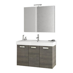 ACF - 40 Inch Grey Oak Bathroom Vanity Set - Set Includes: Vanity Cabinet (3 Doors).