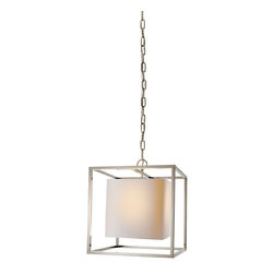 """Caged Lantern - Unleash your style with this cubic hanging lantern. The open metal """"cage"""" and frosted glass of the interior cube will enhance your industrial-chic look or add a fun geometric pop to softer contemporary styles. Hang it from your high ceilings or in front of your scenic windows to light up the skyline."""