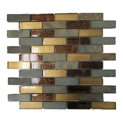 """GL STONE LTD - Random Stone and Glass Strip Mosaic Tile, Brown/Grey/Golden - Glossy glass and stone mosaic tile is one of the most popular tile for the interior wall and floors. This beautiful combination shades of golden, grey and brown polished finished creates a sleek and attractive design to any room. The mesh backing not only simplifies installation, it also allows the tiles to be separated which adds to their design flexibility. These tiles will give a luminescent quality to any kitchen or any decorated spot in any room. Each sheet measures 12""""x 12""""( 1 sq. ft.) This mosaic tile is great for shower surround, bathroom floor, kitchen backsplash, or wall feature."""