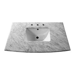 Bellaterra Home - 36 in. White carrara marble counter top with rectanglar sink - Transform your bathroom with Bellaterra's natural Carrera White Marble Vanity Top. Our solid marble top provides functional beauty for any bathroom and is polished and sealed with the highest quality.It is pre-drilled to accommodate  most 8 in. widespread faucets. and pre-installed with 15 in rectanglar white UPC undermount sinks Ship assembled, makes installation a breeze.