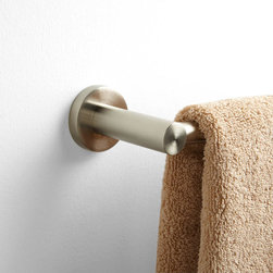 "Rotunda Towel Bar - Drape towels in style with the 24"" Rotunda Towel Bar, made of durable solid brass and featuring rounded lines and circular mounting plates."