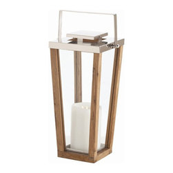 Arteriors Home - Arteriors Home Zeke Small Glass/Wood Steel Lantern - Arteriors Home 6710 - Arteriors Home 6710 - Candles not included.