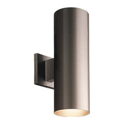 """Progress Lighting - Progress Lighting Up/Down Cylinder 5"""" - 5-Inch cylinder w/ heavy duty aluminum construction and die cast wall bracket. Sleek design offers a superior low-profile option for lighting building exteriors. Features 2-light configuration which illuminates both up and down - creating a dramatic lighting effect. Powder coated finish. 5-Inch up/down cylinder w/ heavy duty aluminum construction and die cast wall bracket. Powder coated finish. UL listed for wet locations. Uses (2) 75-Watt PAR-30 or BR-30 bulbs 5-Inch Width x 14-Inch Height UL Listed for indoor use as shown. For UL Wet Location use, accessory lens, P8799-31, is required - order separately.Dimensions: 5″ x 8″ x 14″.   Weight: 3.25lbs."""
