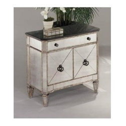 Bassett Mirror - Small Mirrored Chest - An antique silver tone finish and mirrored accents give this two-door commode table a striking look that will be a dramatic addition to any decor. Both bold and elegant, the table features two cabinets with ring pulls and a storage drawer, and would easily enhance the design of any room or hall. Borghese Collection. 2 Door cabinet. 1 Pull-out drawer. Hand-worked and beveled antique mirror over veneers. All mirror edges are encapsulated in a wood frame. Made of hardwood solids, veneers and mirrors. Antique Silver finish. 30 in. W x 17 in. D x 29 in. H (114 lbs.)